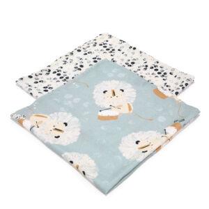 2 darabos textil pelenka bambuszból kék, fehér színekben doboló oroszlán mintával Wild Cats Stone