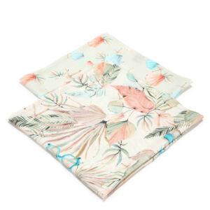 2 darabos textil pelenka pamut muszlin menta és rózsaszín színekben egzotikus levél és retro napszemüveg mintával Boho Girl