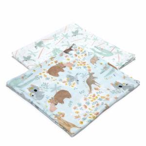 2 darabos textil pelenka pamut muszlin koala wombat kenguru mintával kék színben Dundee and Friends Blue