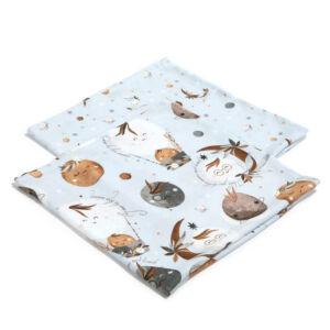 2 darabos textil pelenka pamut muszlin nap, hold, bolygó mintával Fly me to the Moon Sky
