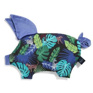 Baba kispárna röfi formában velvet anyagból kék és zöld színben dzsungeles mintával Magic Jungle