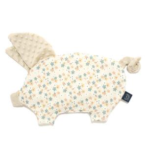 lapos baba párna röfi alakú homokszínű minky apró virágos mintával La Millou Pretty Barbara