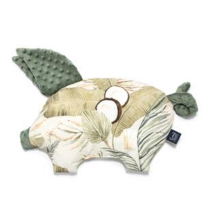 röfi alakú lapos baba párna puha minky és pamut anyagból khaki s bézs színben trópusi pálma levél mintával Boho Coco