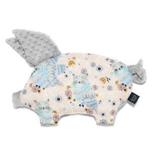 lapos baba párna röfi alakú szürke minky rózsaszín-kék álmos bagoly mintával La Millou Sleepy Owls