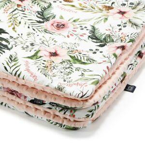baba takaró töltettel pamut minky puder rózsaszín vadvirágos wild blossom