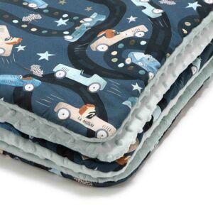 baba takaró töltettel kétoldalas pamut-minky hamvas menta sötétkék autóversenyző süni és nyuszi mintával La Millou On the Road