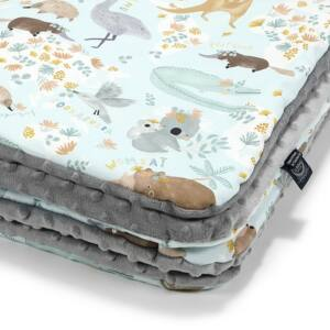 baba takaró töltettel pamut minky szürke ausztrália állat mintás koala, kenguru, emu, wombat