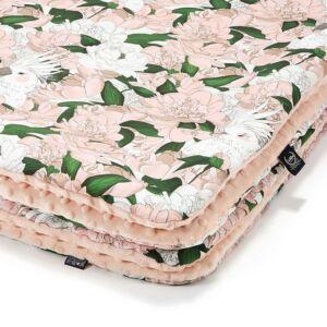 baba takaró minky és pamut anyagból bazsarózsa mintával rózsaszín Lady Peony