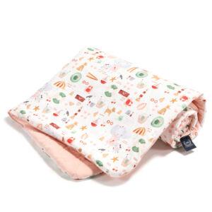 baba takaró töltettel pamut velvet púder rózsaszín tengerparti piknik mintával French Riviera Girl