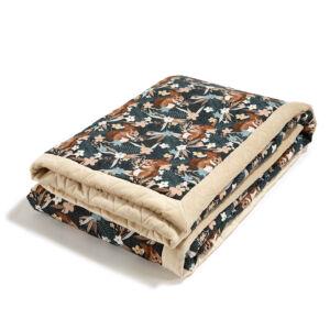 felnőtt méretű meleg takaró velvet és pamut anyagból homok bézs színben barna erdei mókus mintával La Millou Pretty Barbara