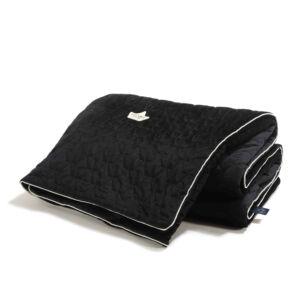 bársonyos velvet anyagból készült vastag takaró töltettel felnőtt méretben 160x200 cm fekete színben