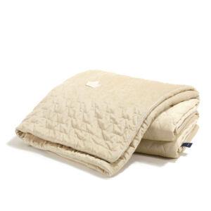 bársonyos velvet anyagból készült vastag takaró töltettel felnőtt méretben 160x200 cm homok színben