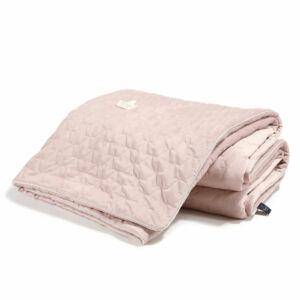 bársonyos velvet anyagból készült vastag takaró töltettel felnőtt méretben 160x200 cm hamvas rózsaszín