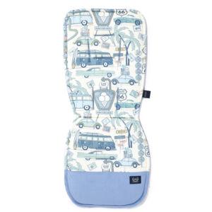 babakocsi betét galamb kék fehér pamut jersey anyagból autós nyaralás mintával Amerika Route 66 Colour