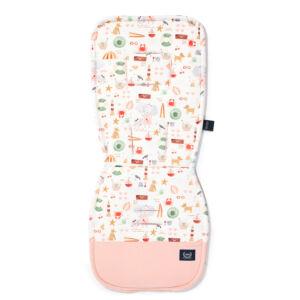 babakocsi betét púder rózsaszín-fehér pamut jersey anyagból tengerparti piknik mintával french Riviera Girl