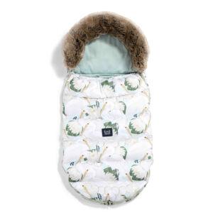 hamvas menta velvet baba bundazsák levehető szőrmével krémszínű lótusz és kócsag madár mintával La Millou Heron in Lotus