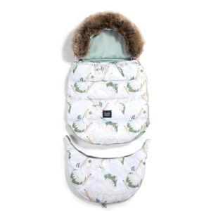 bundazsák állítható méretben 0-3 éves kor között használható prémium velvet anyagból menta heron in lotus pelikan