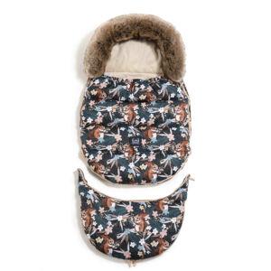 bundazsák állítható méretben 0-3 éves kor között használható prémium homokszínű velvet anyagból mókus és erdő mintás La Millou Pretty Barbara