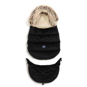 bundazsák kombó méretben 0-3 éves kor között használható prémium velvet anyagból fekete színben lecsatolható szőrmével