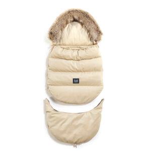 kombinált bundazsák állítható méretben 0-3 éves kor között használható prémium velvet anyagból homok színben lecsatolható szőrmével