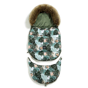 bundazsák állítható méretben 0-3 éves kor között használható prémium velvet anyagból zöld és szürke színben papagályos mintával Papagayo