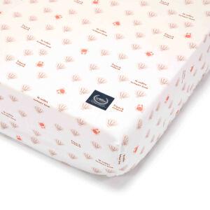 kiságyba való gumis lepedő babáknak 60x120 cm fehér-rózsaszín tenger és kagyló mintás French Riviera Girl
