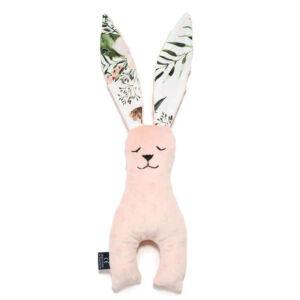 nyuszi alakú alvóka, plüssjáték és szundikendő egyben 23 cm magas púder rózsaszín vadvirágos mintával