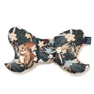 pillangópárna pamut jersey és velvet bársony anyagból homok színű barna mókus és leveles erdő mintával La Millou Pretty Barbara