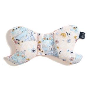pillangópárna pamut jersey és velvet bársony anyagból púder rózsaszín álmos bagoly La Millou Sleepy Owls