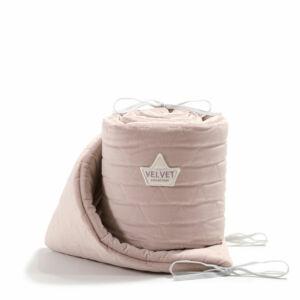 baba kiságy rácsvédő velvet steppelt anyagból hamvas rózsaszín színben 70 x 140 cm kiságy méretre