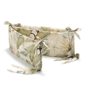 rácsvédő kiságyba khaki zöld és bézs színekben trópusi pálma levél, majom és egzotikus kókuszdió mintával Boho Coco