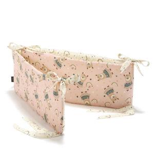 baba kiságy rácsvédő rózsaszín szívárványos mintával