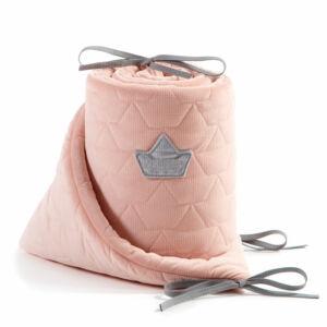 baba kiságy rácsvédő velvet steppelt anyagból púder rózsaszín színben 70 x 140 cm kiságy méretre