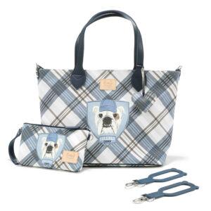 közepes méretű pelenkázó táska kék kockás bulldog kutya mintával