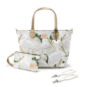 közepes méretű pelenkázó táska krém színű lótusz és kócsag mintával