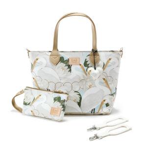 nagy méretű pelenkázó táska krém lótusz és kócsag mintával