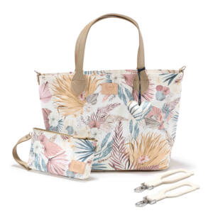 közepes méretű pelenkázó táska egzotikus virág és trópusi pálma levél mintás mályva, sárga és zöld színekben Boho Palms Light