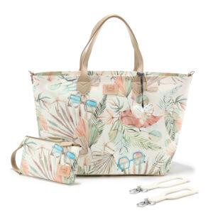 közepes méretű pelenkázó táska trópusi pálma levél és napszemüveg mintás menta és rózsaszín Boho Palms Light