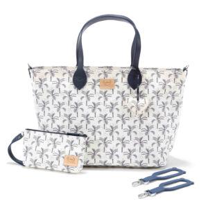 közepes méretű pelenkázó táska fehér alapon sötétkék pálmafa mintával