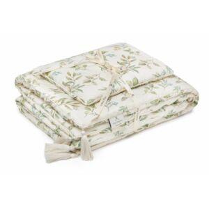 100% bambusz babaágynemű szett takaró + párna zöld leveles mintával 75x95 cm Botanic My Memi