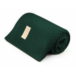 merinó gyapjú baba takaró sötétzöld színben