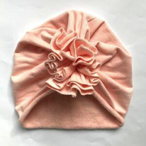 Őszi téli turbán sapka púder rózsaszín XS méret