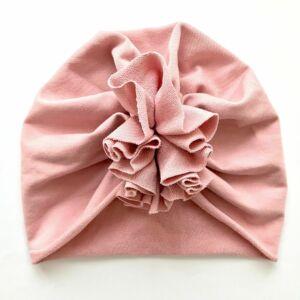 Őszi téli turbán sapka vintage rózsaszín XS méret
