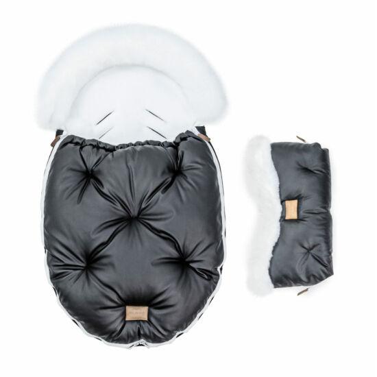 két részes baba bundazsák szett prémium eco bőr anyagból fekete fehér szőrmével