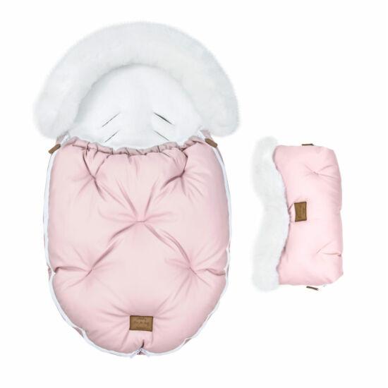 két részes baba bundazsák szett prémium eco bőr anyagból rózsaszín fehér szőrmével