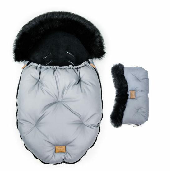 két részes baba bundazsák szett prémium eco bőr anyagból szürke fekete szőrmével