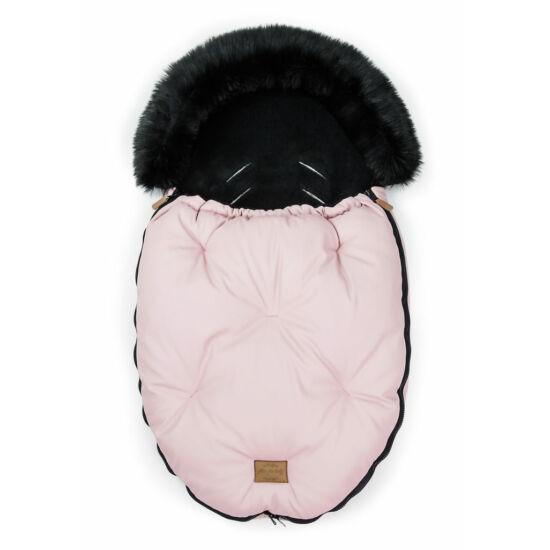 baba bundazsák prémium eco bőr anyagból rózsaszín fekete szőrmével