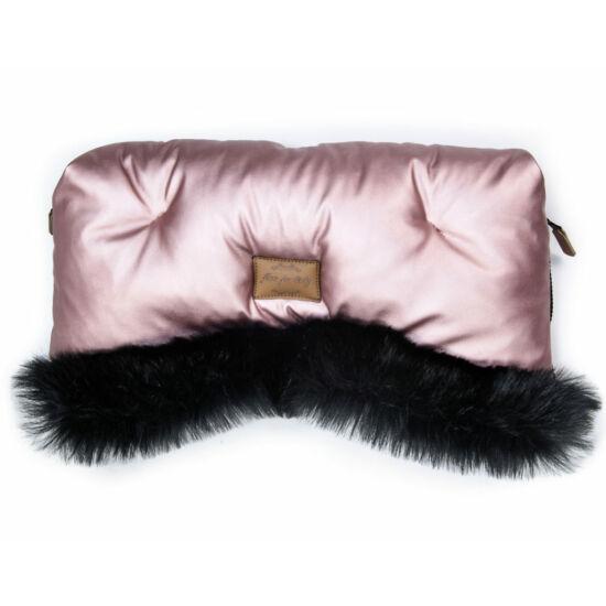 babakocsi kézmelegítő fényes rózsaszín színben fekete szőrmével