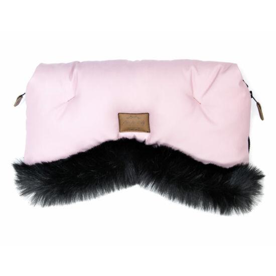 babakocsi kézmelegítő rózsaszín színben fekete szőrmével