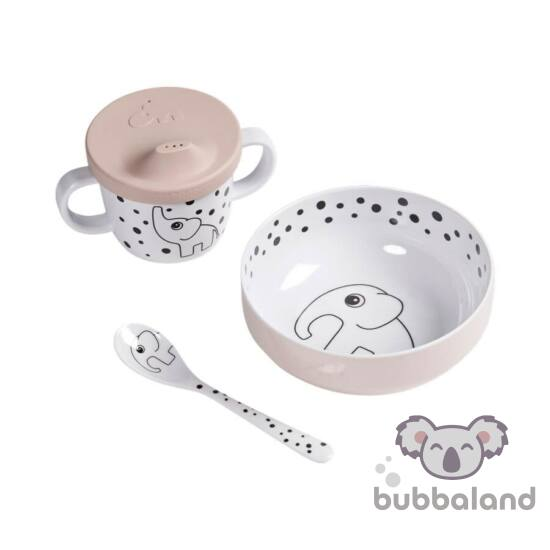 pöttyös elefántos baba étkészlet 6 hónapos kortól púder rózsaszín Done by Deer Happy Dots